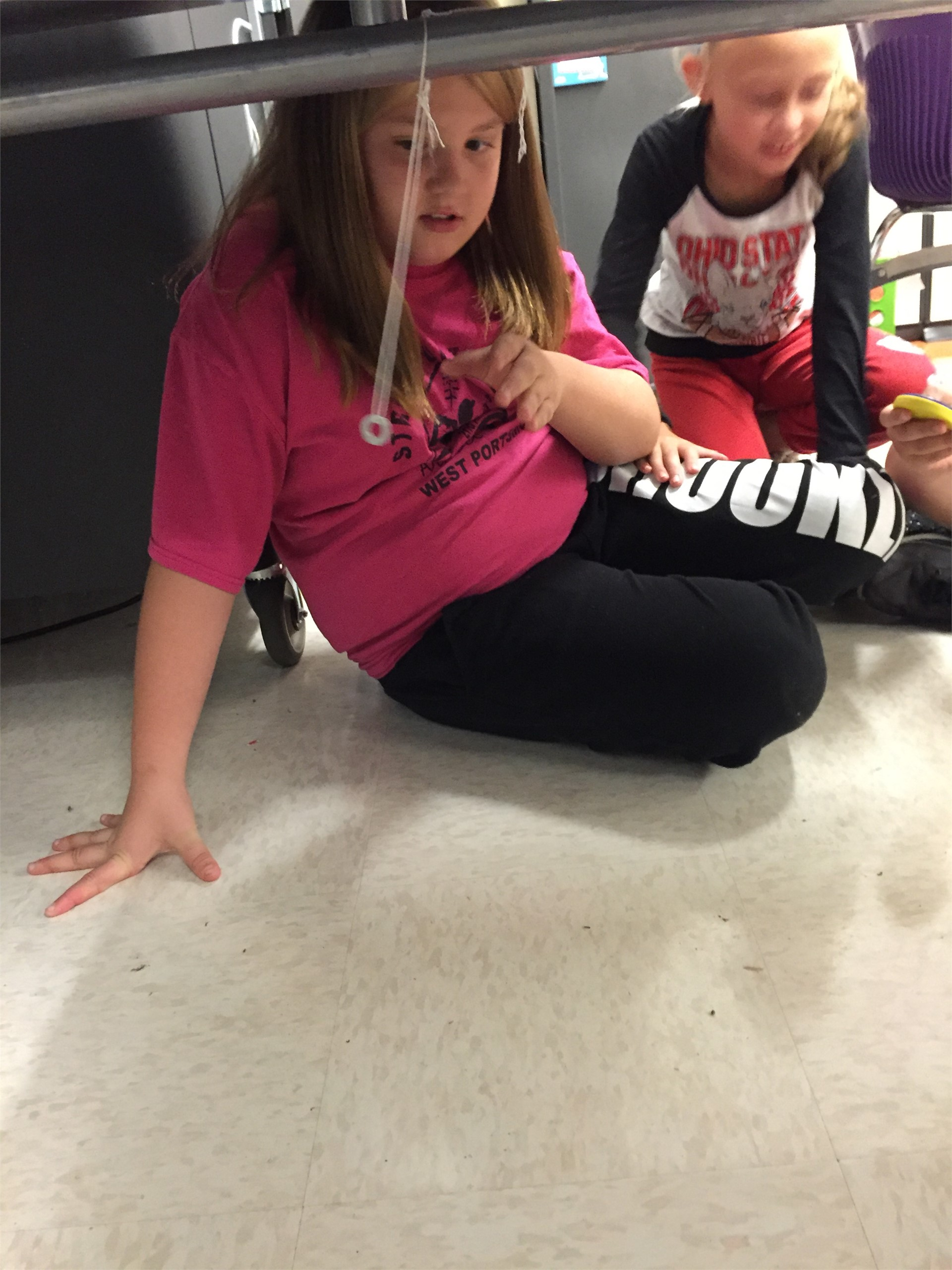 Fifth Graders and their pendulum investigation.