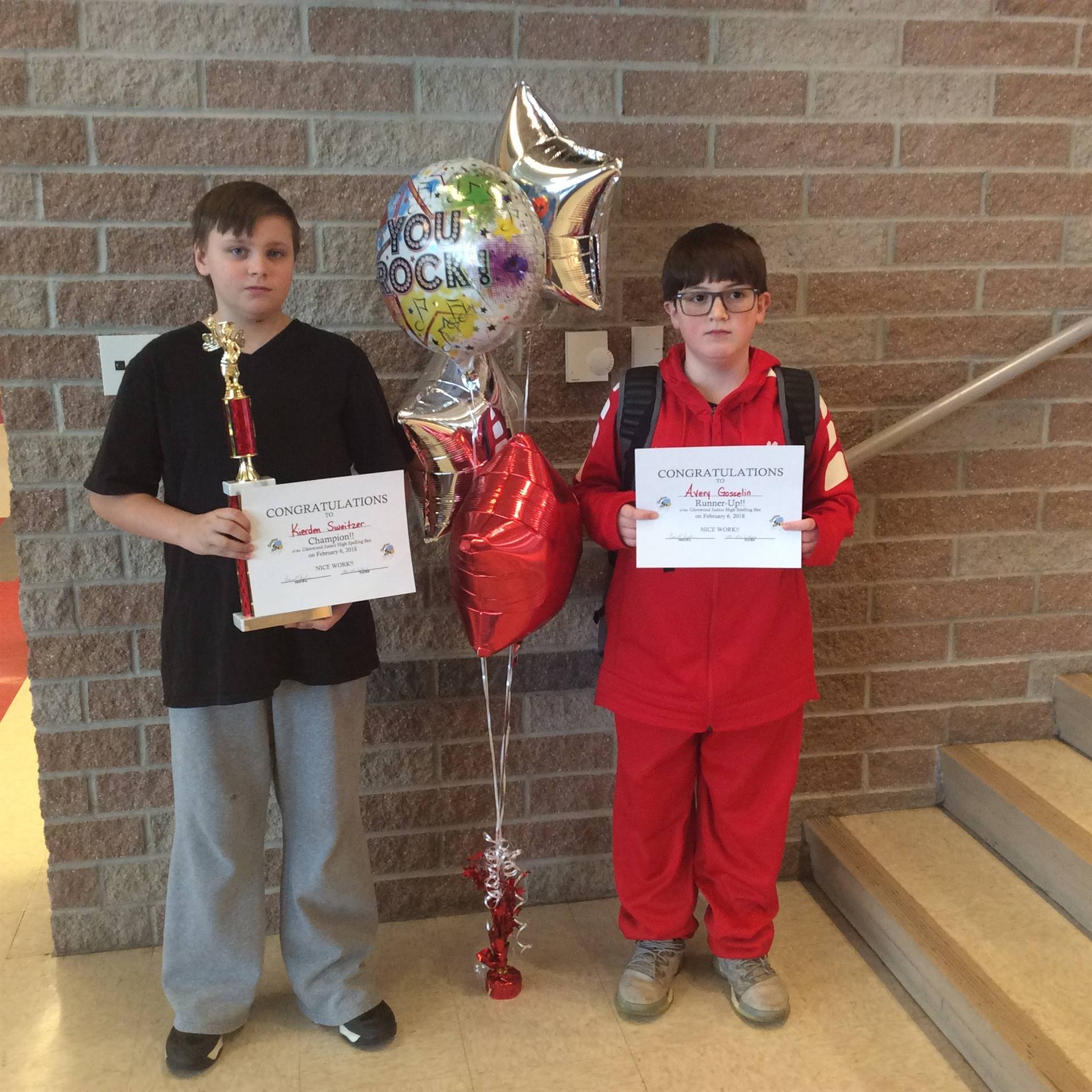 Avery Gosselin & Kierden Sweitzer - Jr. High Spelling Bee Winners (2018)